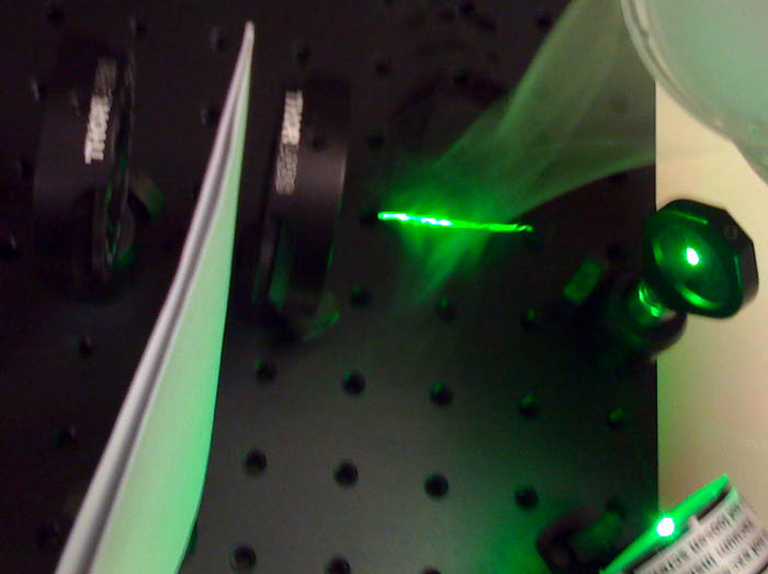 lasers, dry ice, fluorescein: what could possibly go wrong?